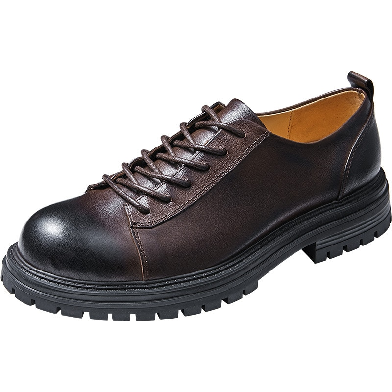 retro reflective harajuku muffin shoes female british college round toe lace up casual shoes leisure all match platform shoes New Spring Soft Soled British Business Casual Shoes Mens All-match Cowhide Spring Autumn British Retro Lace-Up Men Dress Shoes