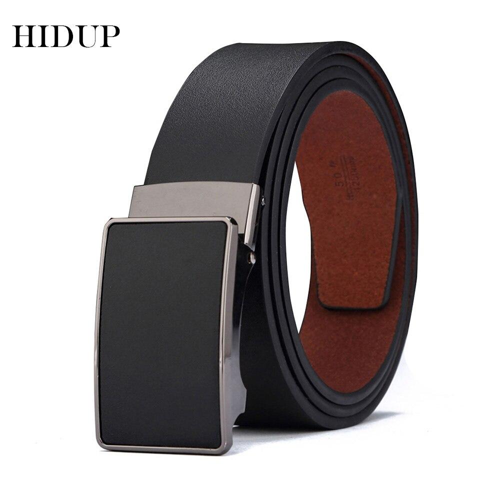 HIDUP Gute Qualität Echte Echtem Leder Automatische Modell Gürtel für Männer Schwarz Blau Farben Wahl 3,5 cm Breite Zubehör NWJ431