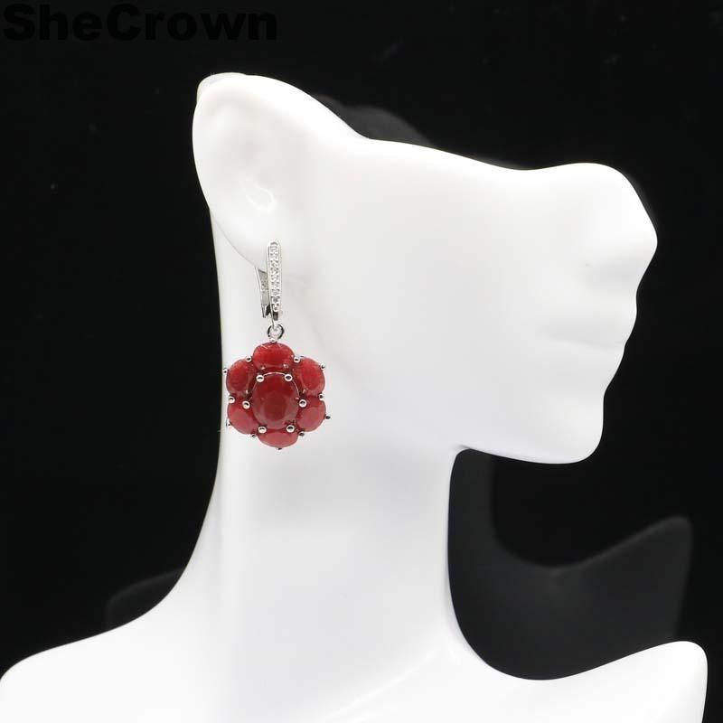 38x17mm precioso rubí rojo auténtico, Blanco CZ boda mujer 925 pendientes colgantes de plata