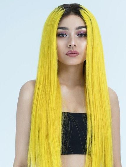 Ombre Yellow Straight Human Hair Wig With Black Roots Wig With Baby Hair Brazilian Remy Lace Wigs 180 Density