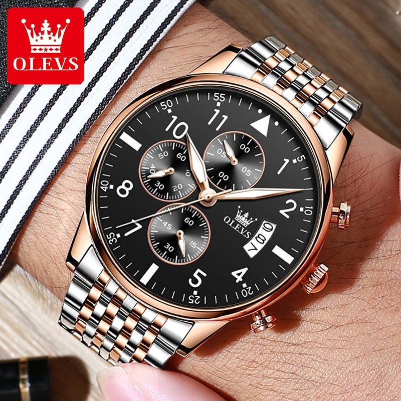OLEVS Montre Homme Mens Watches Top Brand Luxury Stainless Steel Men Watches Waterproof Chronograph