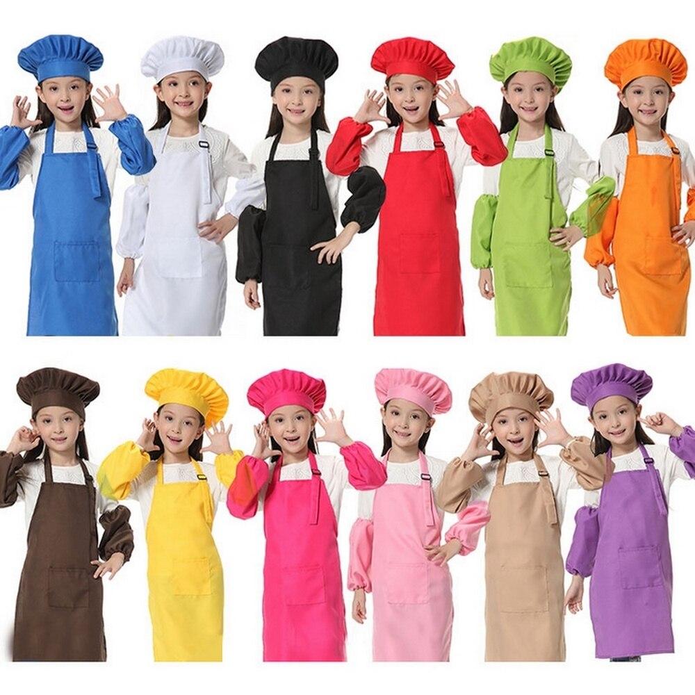 Delantal de cocina Delantal niños manga sombrero bolsillo jardín de infantes cocina pintura para hornear alimentos de cocina Enfant Tablier Delantal Cocina
