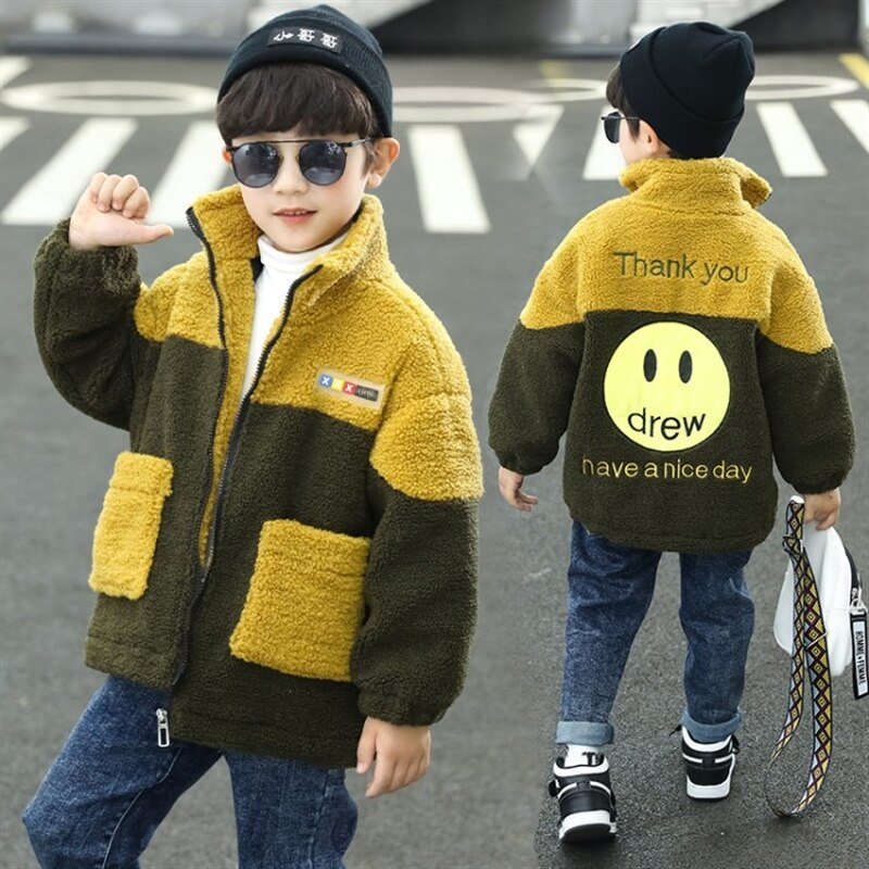 Children's clothing furry sweater boys' coat autumn and winter lamb wool boys' cotton-padded coat velvet padded thickened coat enlarge
