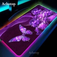 flower pattern led light desk mat computer mouse pad 80x30 90x40cm rgb backlight keyboard cover keyboard xxl gaming mousepad