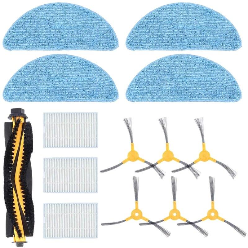 Kit acessório para peças de substituição do robô proscenic 800t 820s de 1 escova principal, 6 escovas laterais, 3 filtros hepa, 4 pano mop