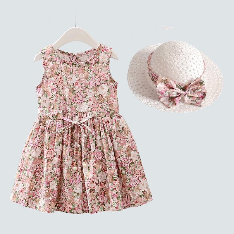 2PCS/Set Girls Dress +Hat Cotton Comfortable Children's Dress 2021 Summer Dress Floral Girls' Sleeveless Dress For Children