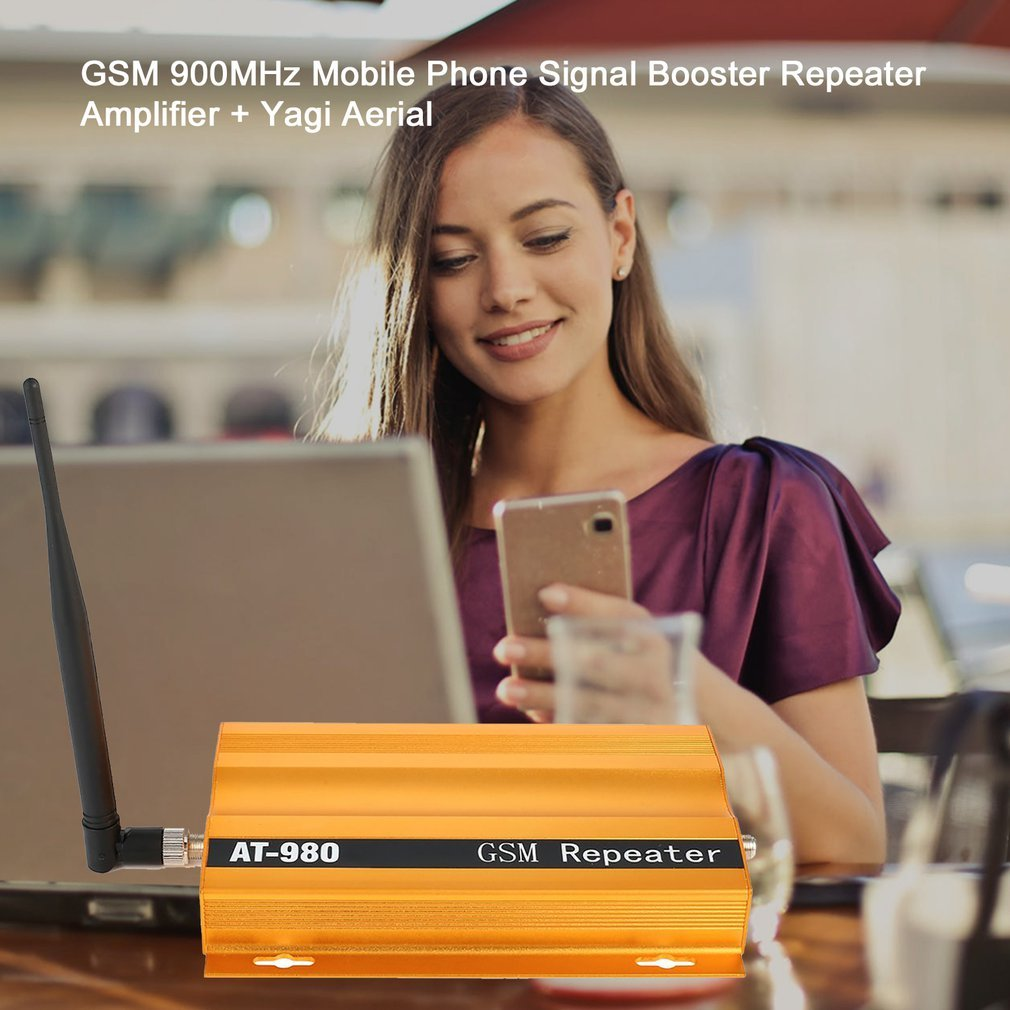 GSM 900mhz Mobile Phone Signal Booster Repeater Amplifier + Yagi Aerial Full-duplex Single-port Design AT-980 LESHP Piece enlarge