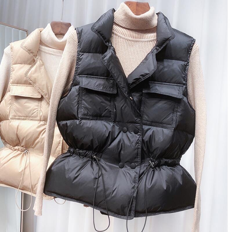 Winter Vest Women Short Sleeveless Vest Jacket Lightweight BodyWarmer Waistcoat Female White Gilets Windbreaker Slim Parkas Coat