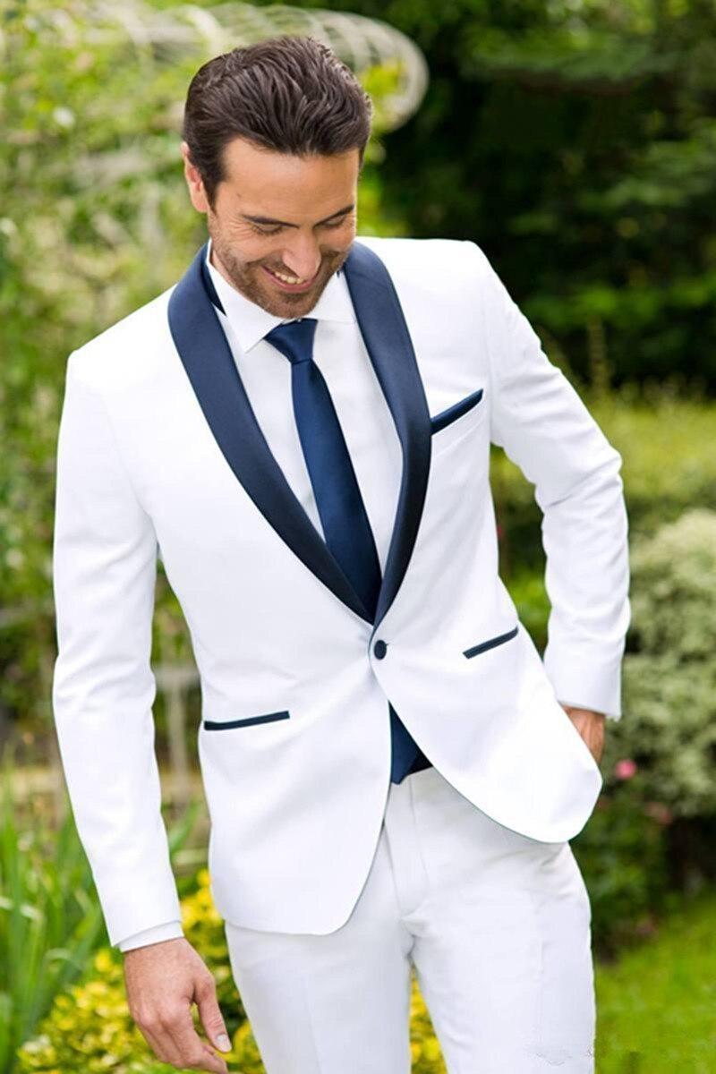 بدلة زفاف رجالية ، بدلة زفاف كلاسيكية ، بدلة زفاف بيضاء ، بدلة عمل (جاكيت وسروال ربطة عنق)