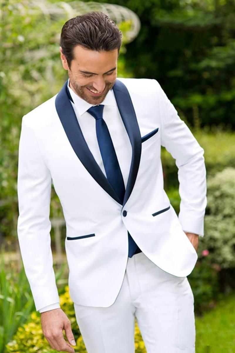 Classic Design White Groom Tuxedos Groomsmen Best Man Suit Mens Wedding Suits Bridegroom Business Suits (Jacket+Pants+Tie)