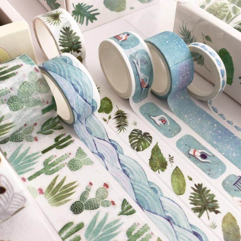 Cinta adhesiva, cinta de OfficeTapes 8 Uds hojas verde Cactus conjunto de cintas washi DIY planificador cinta adhesiva decorativa etiqueta Maskin