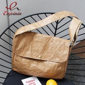 Concise DuPont Paper Fashion Shoulder Bag for Women Purses and Handbags Female Messenger Bag Khaki Croosbody Bag 2021 New Design