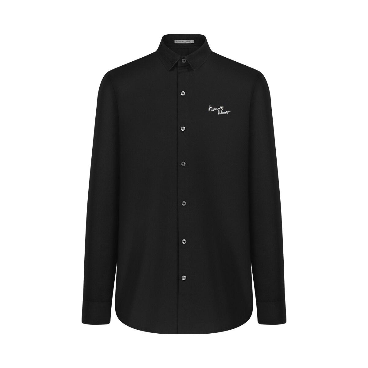 HW новое поступление, мужская мода 2020, роскошные Брендовые повседневные черные рубашки с алмазным логотипом, хлопковые рубашки на молнии