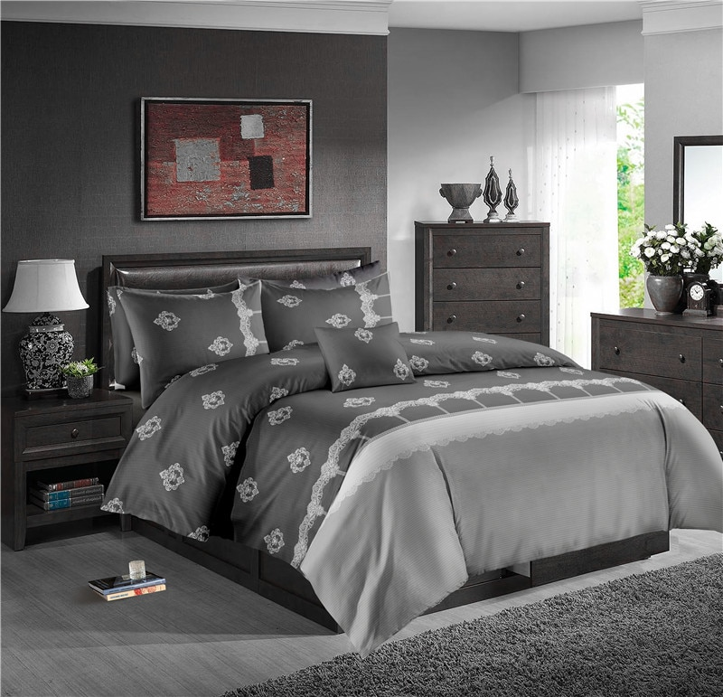 Encaje de lujo juego de cama monocolor 3 uds conjunto de edredón Queen para adultos, colcha, funda