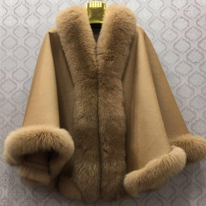 Capa de mujer con cuello de piel de zorro real en todo tamaño libre Otoño Invierno bufanda mujer poncho cálido de lujo pashmina de señora S104