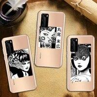 junji ito japanese comie horror phone case transparent for huawei honor nova c x 7 8 3 4 9 65g se v t play pro lite