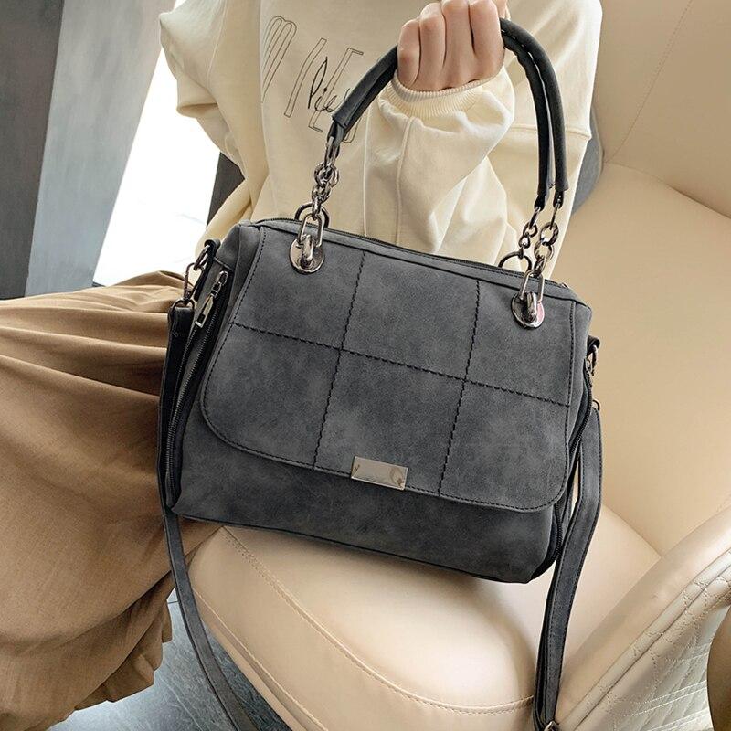 Big Matte Female Shoulder Bag Large Capacity Casual Tote Bag Black Travel Boston Handbag Women Scrub Leather Messenger Hand Bag