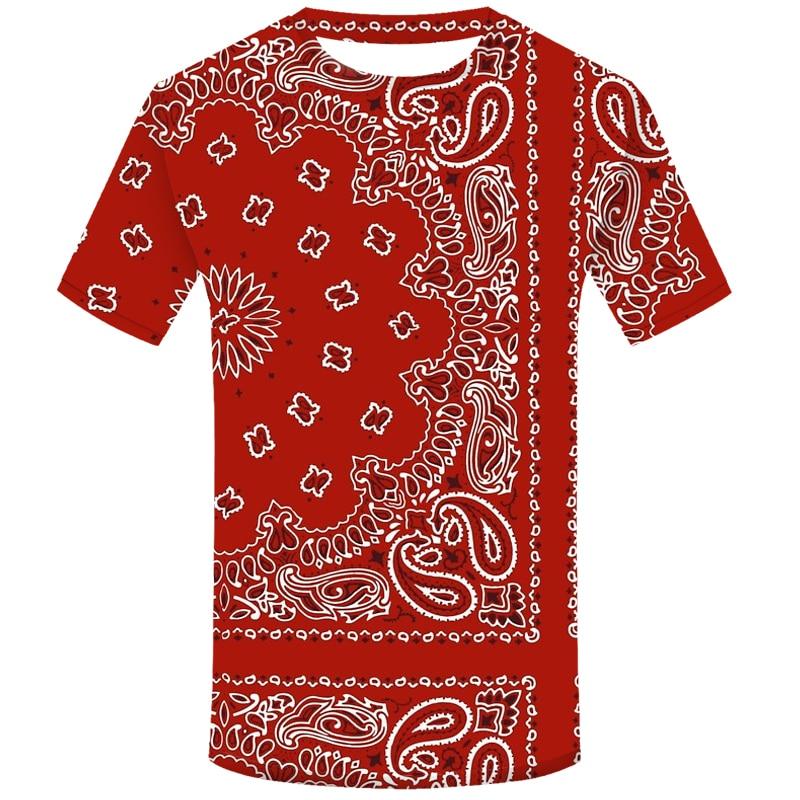 Camiseta de moda con estampado 3D de Bandana roja para hombre, camiseta divertida de Hip Hop Cool Streetwear, camisetas casuales de manga corta para hombre, prendas de cuello redondo