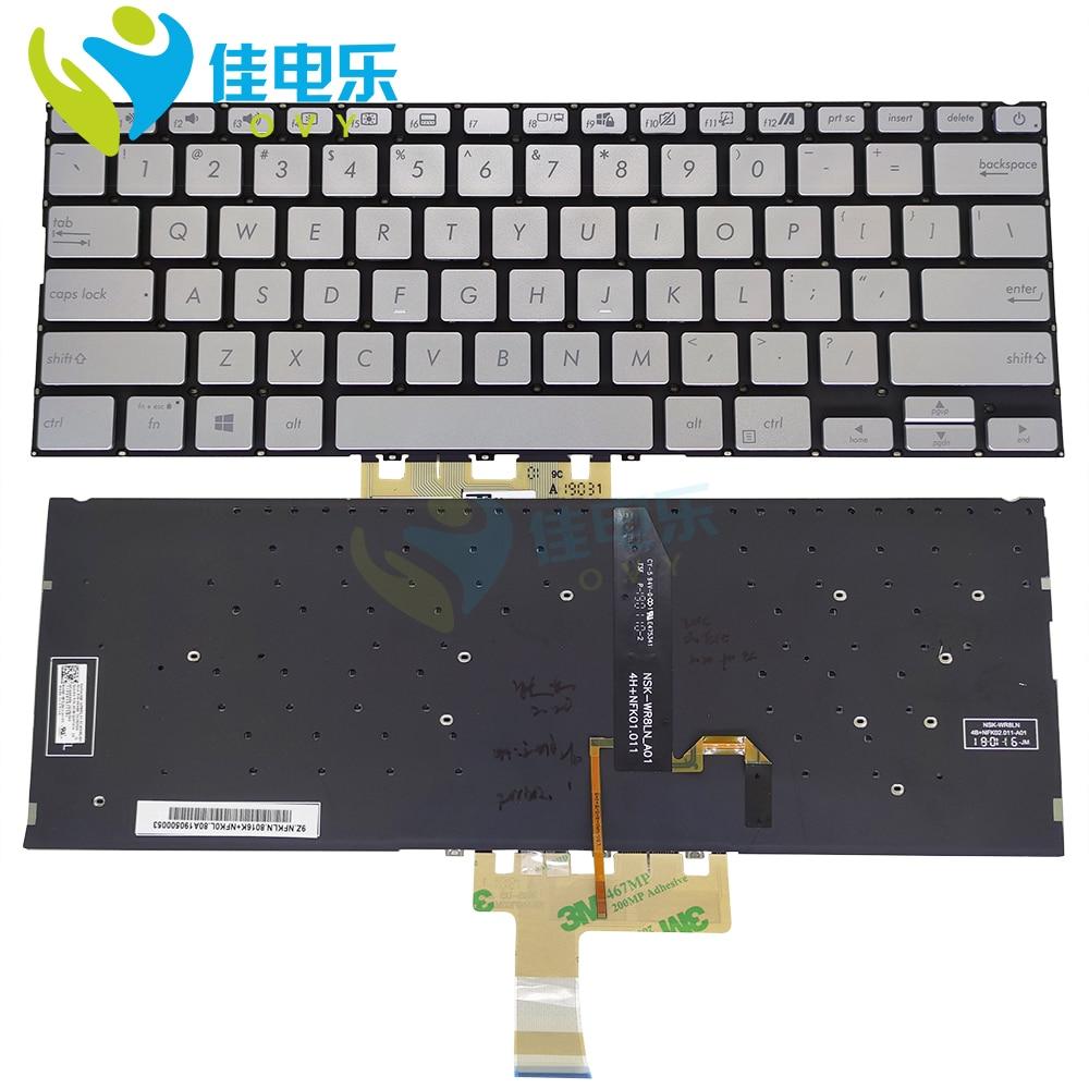 US الخلفية لوحة المفاتيح ل ASUS vivobook S14 S432 S432FL S432FA الإنجليزية الفضة أجهزة الكمبيوتر المحمولة استبدال لوحة المفاتيح 0knb0-212gur00 بيع