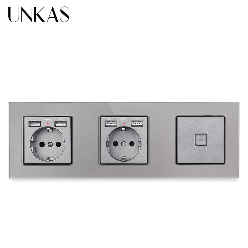 Unkas painel de vidro dupla tomada padrão da ue com 4 usb 16a porto carregamento + rj45 jack computador tomada parede