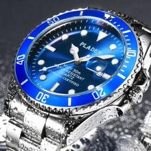 PLADEN Luminous Watch For Men Top Brand Luxury Waterproof Men's Wrist Watch Casual Blue Quartz Mens