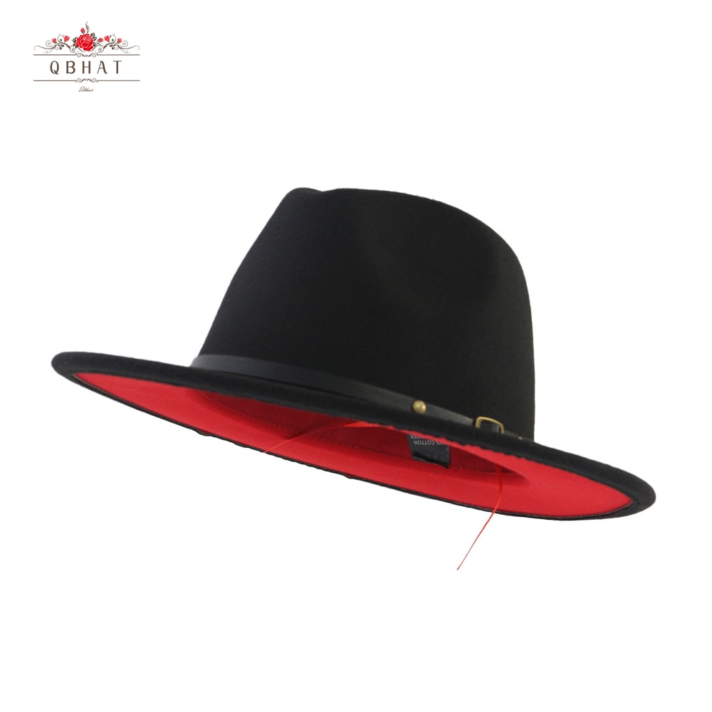Women Men Black Red Patchwork Wool Felt Jazz Fedora Hat Unisex Panama Style Wide Brim Party Trilby Cowboy Dress Wedding Cap