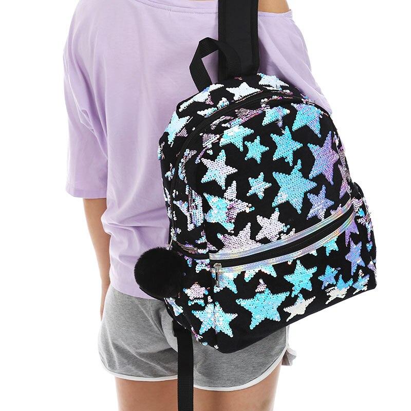 Mochila GRANDE con estrella de lentejuelas para mujer, bolso de viaje Negro de moda, mochila escolar con cremallera de piel para estudiante, nuevo bolso de felpa para invierno