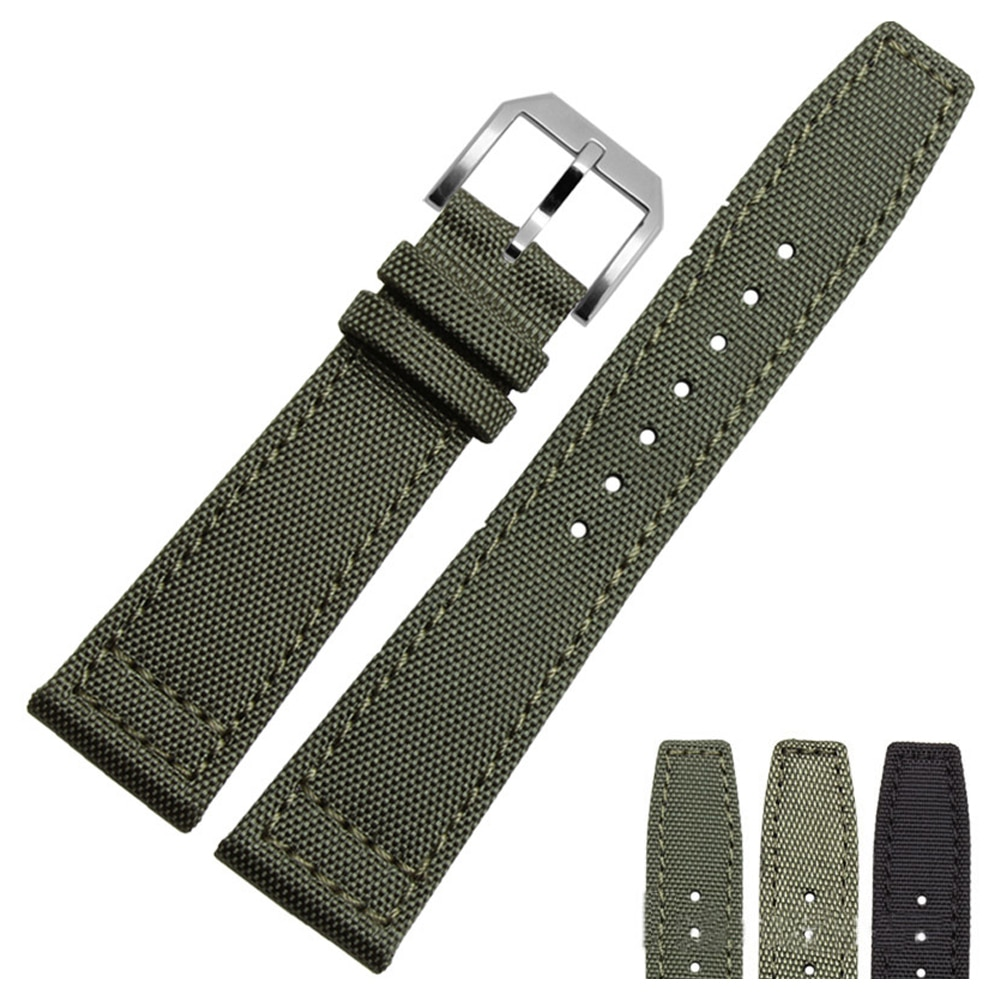 20mm 21mm 22mm Nylon Canvas Fabric Watch Band for IWC Pilot Spitfire Timezone Top Gun Strap Green Bl