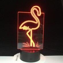 Flamingo 3D lumière LED pour enfants salon nuit lampe 7/16 couleurs changeante anniversaire présent créatif 3D LED veilleuse 3342