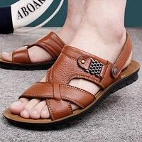 Шлепанцы мужские кожаные, Классические сандалии двойного назначения, Пляжная удобная обувь, лето 2021