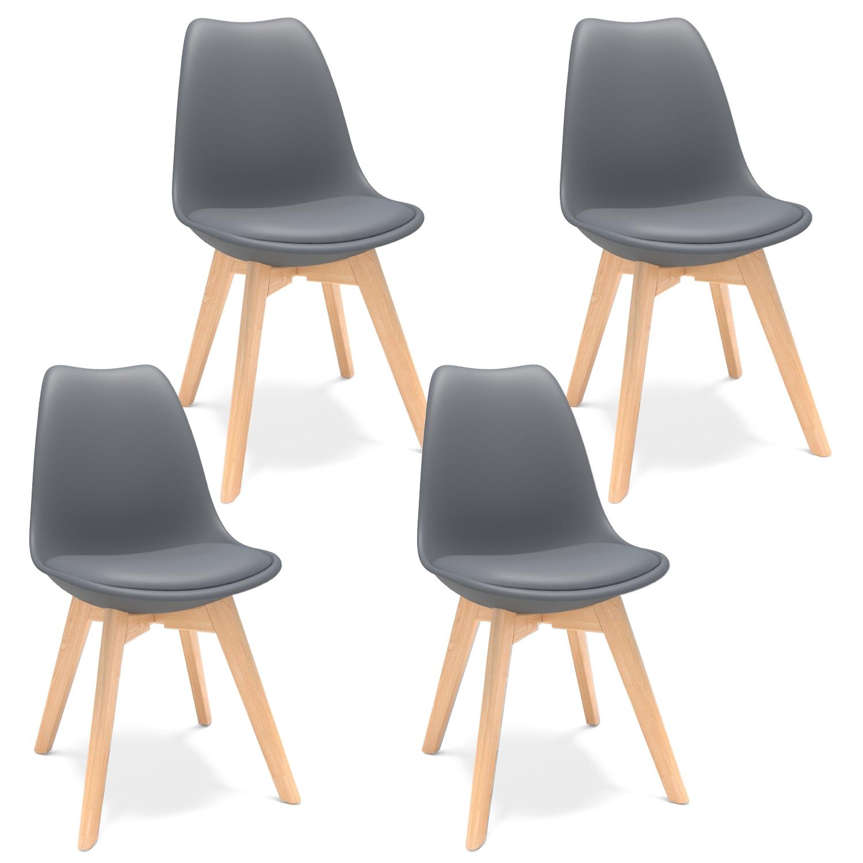 4 قطعة كراسي رمادي شل DSW طبق الاصل ايفل الطعام كرسي الخزامى كرسي مقهى الجانب كرسي مع وسادة للمقعد للمطبخ صالة غرفة الطعام