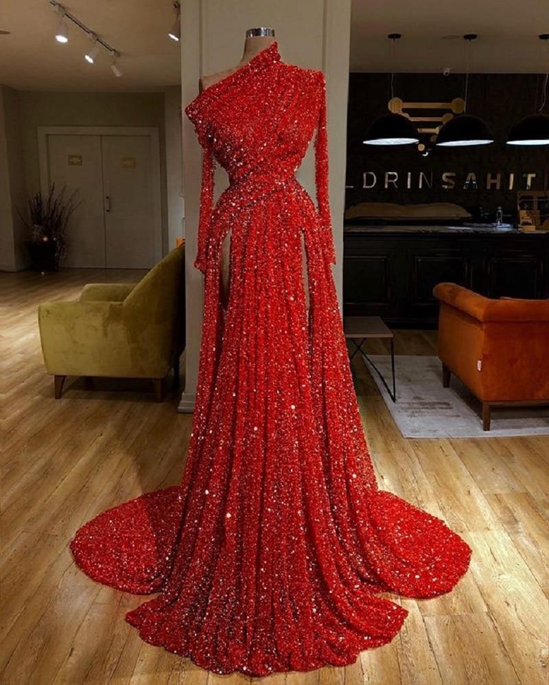 Red Evening Dresses Long Sleeve Sequin Arabic Vestido Women Lady Elegant Prom Celebrity Gowns