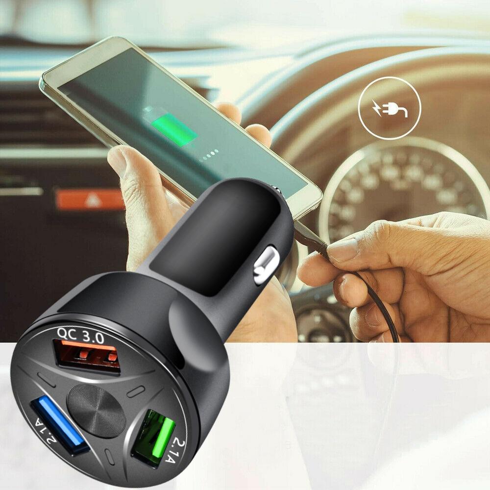 Adaptador de cargador de coche rápido portátil de 3 puertos USB pantalla LED QC 3,0 accesorios de carga rápida automática para iPhone Samsung iPad