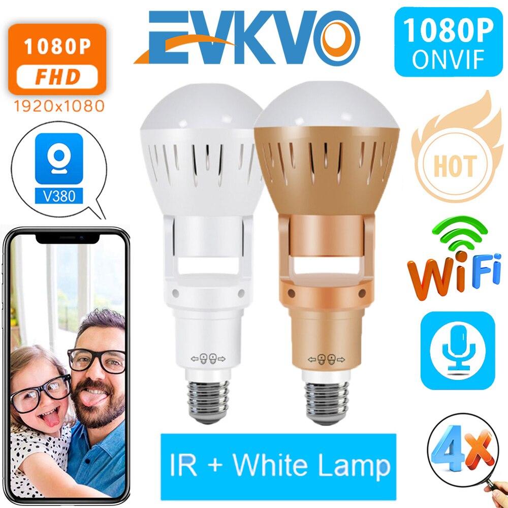 Evkvo 360 Graden Fisheye Lens Panoramisch Ip Camera Infrarood Wit Licht Draadloze 960P Hd Wifi Mini Bulb Lamp Cctv home Security