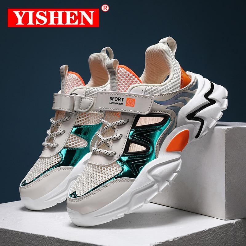 Yishen sapatos de alta qualidade das crianças tênis respirável para meninos crianças leves sapatos de fundo macio tênis tenis infantil