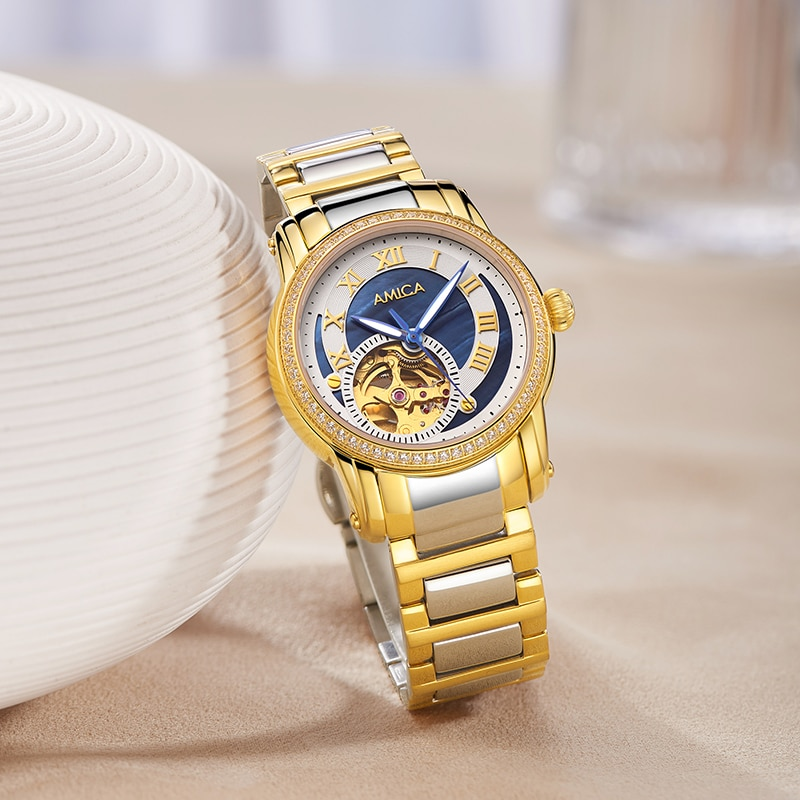 Amica Fashion Womens Watches Luxury Silver Clock Mechanics Female Stainless Steel Waterproof Wrist Watch Female Clock enlarge