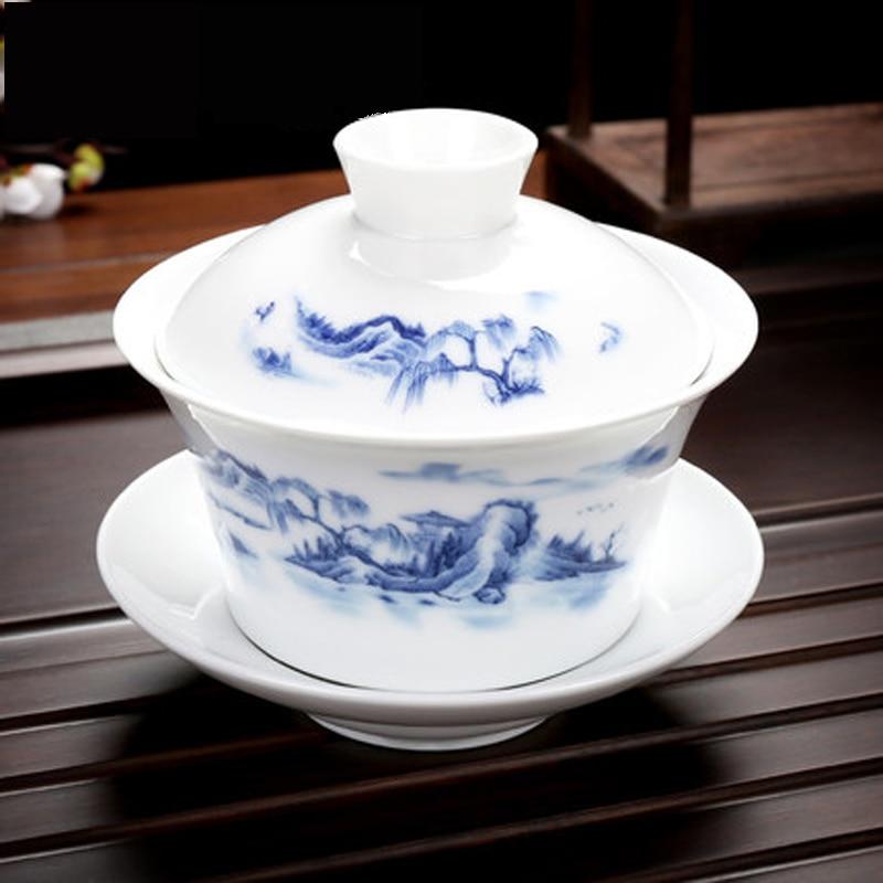 الخزف الصيني الكونغ فو Teacups 300 مللي Gaiwan غطاء زهرة جميلة السلطانية كأس الشفاه الصحن طقم شاي أدوات الشرب