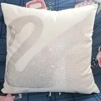 bling crystal diamond ironing short plush cushion cover car home sofa chair decorative pillow lion swan cushion covers