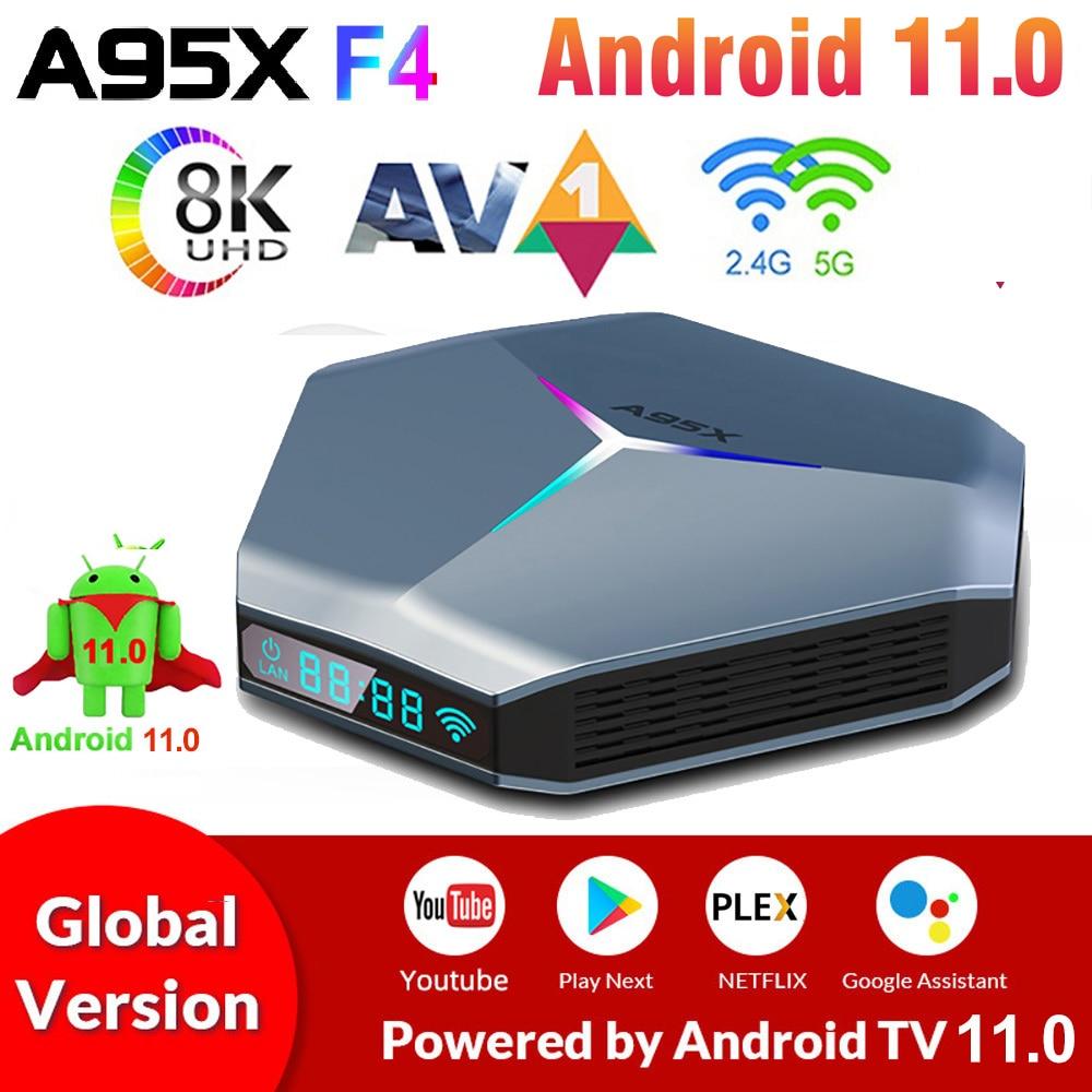 A95X F4 مربع التلفزيون الذكية أندرويد 11 Amlogic S905X4 أندرويد 11.0 TVBox 4K 4GB RAM 32G 64G 128G ROM 2.4G/5G واي فاي RGB ضوء مجموعة صندوق علوي