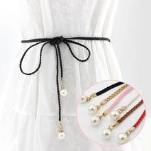 Women's women tassel knot belt Vintage pearl waist rope fringed waistband girdle Woven Waist Belts Female Dress Decorative Belt