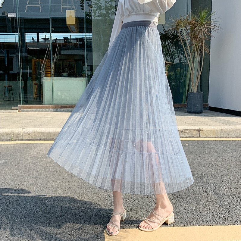 elastic waist pleated skirt Pleated Skirt Women High Waist Beaded Skirt Sexy Lace Midi Skirt Elastic Waist Skirts Womens Plus Size