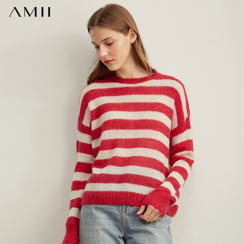 Amii  Autumn Women Striped Knitted Sweater Female Casual Round Neck Long Sleeve Loose Turtleneck Tops 11970663