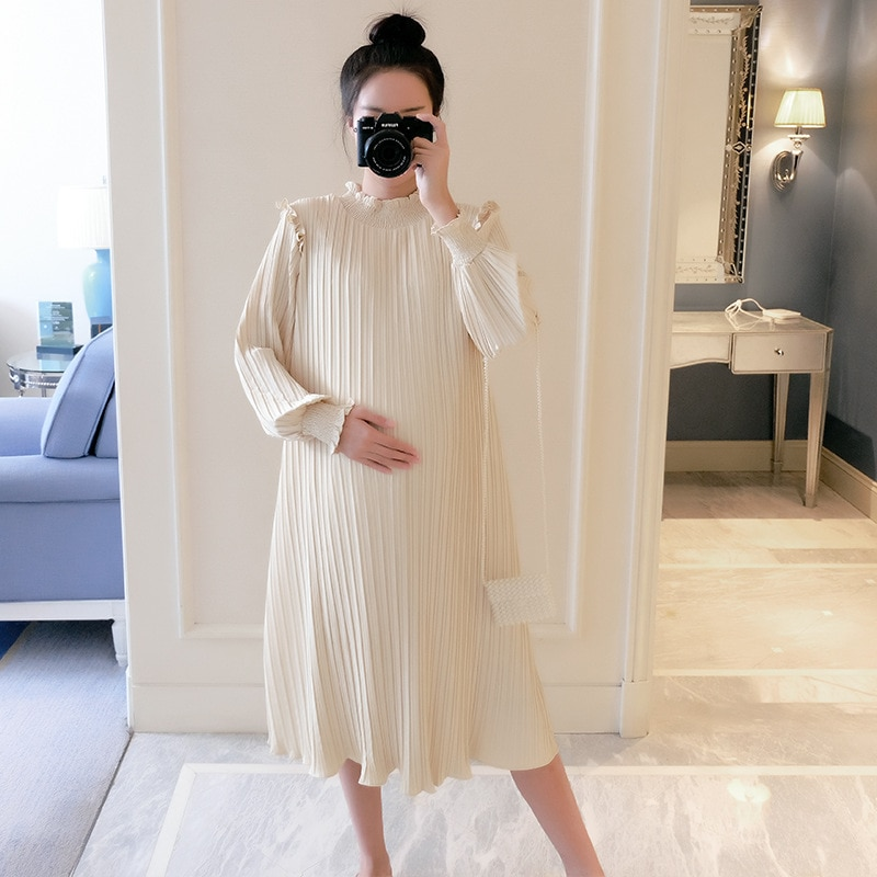 9 10 length sleeve cute doll collar plaid maternity dresses 2019 autumn fashion large size loose dress for pregnant women ql8857 Maternity Dresses Chiffon Pleated Long Pregnancy Dress Casual Loose Maternity Clothes For Pregnant Women Fashion 2020 Plus Size