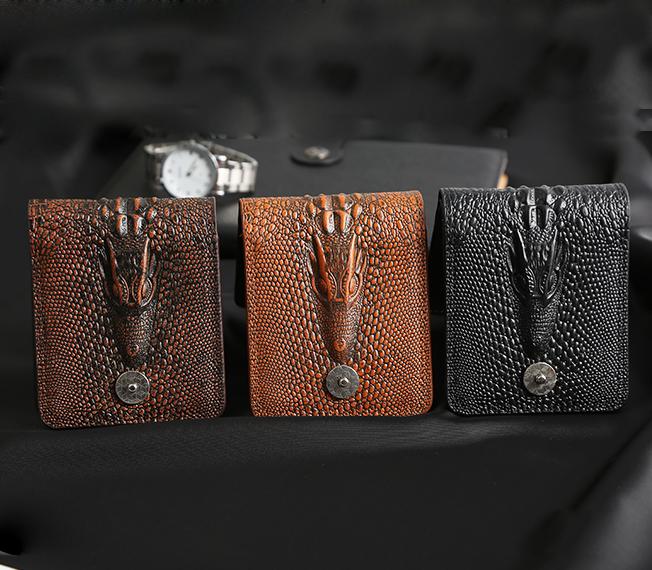 Cartera de piel auténtica para hombre, billetera, billetera, Estilo vintage, Cocodrilo, Alligato,...