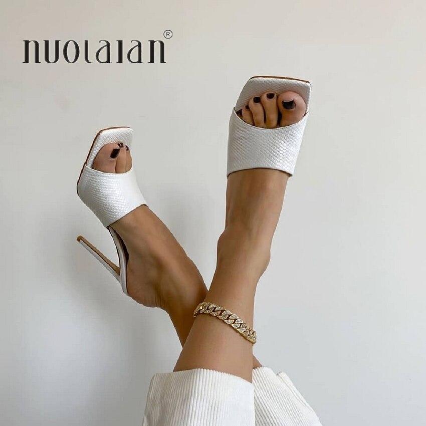 2020 Sommer Frauen Pumpen Karree Damen Ferse Maultiere Sexy Dünne High Heels Sandalen Hausschuhe Weibliche Mode Frau Schuhe 11CM
