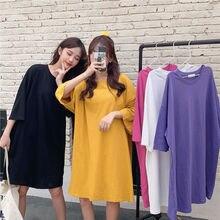 Women Loose Cotton T-shirt Female O-neck Long T-shirts Harajuku Style Fashion Summer Tee Tops Tshirt Befree Plus Size