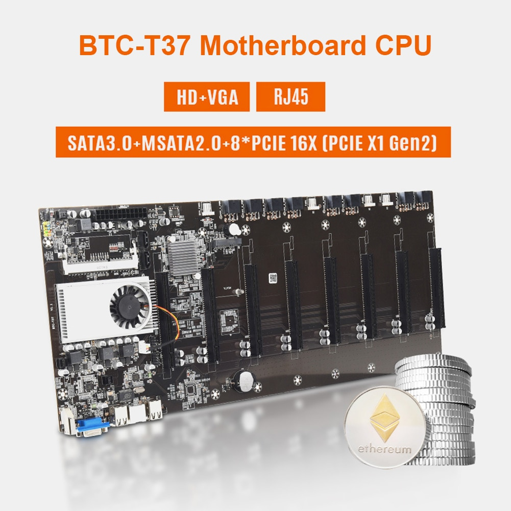 BTC-T37 التعدين اللوحة الأم GPU 8 PCIe 16X فتحات اللوحة الرئيسية مع وحدة المعالجة المركزية التشفير Ethereum بيتكوين BTC 37 التعدين مجلس الخبراء التعدين جديد