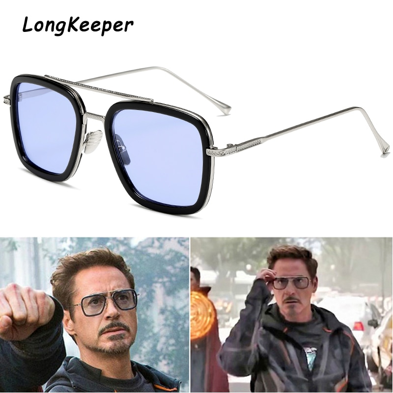 luxury Fashion Tony Stark Style for women Sunglasses Men Square Brand Design Sun Glasses Oculos Retr