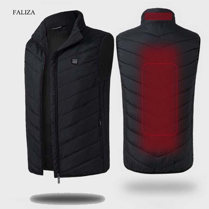 Жилет мужской с подогревом FALIZA, теплая жилетка с USB, Мужская зимняя утепленная жилетка без рукавов, с перьями, MJ117