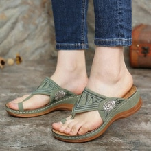 Women Wedge Shoes Soft Sole Vintage Ladies Sandals Embroidery Flower Casual Shoes For Women Comfy Mo